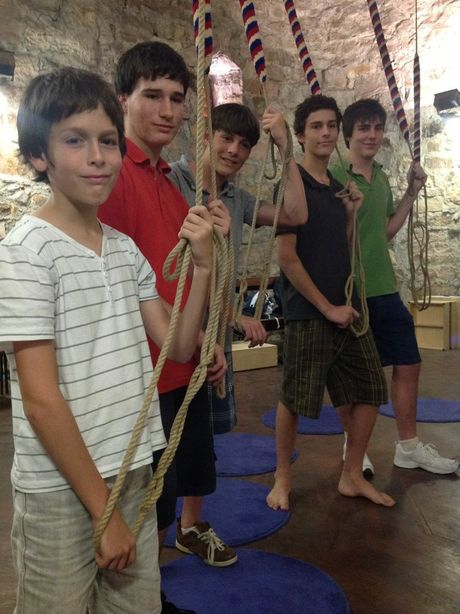 Young Maryborough bell ringers, Jack Stewart, Andrew Chapman and Sean, Hugh and Blair Stewart, practice the church tradition at St John&#39;s Anglican Cathedral in Brisbane.