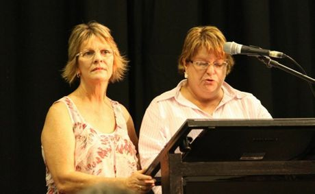 Kris Jones-McKinstrey and Debbie Elliott began the night&#39;s proceedings by congratulating their community and warning the board to give them a fair go. Photo:Kathleen Calderwood