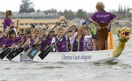 Clarence Coast competes in the 10th Jacaranda Dragon Boat Regatta on the Clarence River at Grafton. Photo: Debrah Novak
