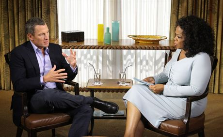 Lance Armstrong faces the cameras during his interview with Oprah Winfrey.