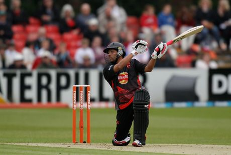 Ramnaresh Sarwan of Leicestershire picks up some runs during the Friends Life T20 match between Leicestershire and Nottinghamshire at Grace Road on June 12, 2012 in Leicester, England.