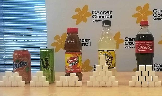 A 600ml bottle of soft drink can contain up to 16 teaspoons or packets of sugar, according to leading health organisations.