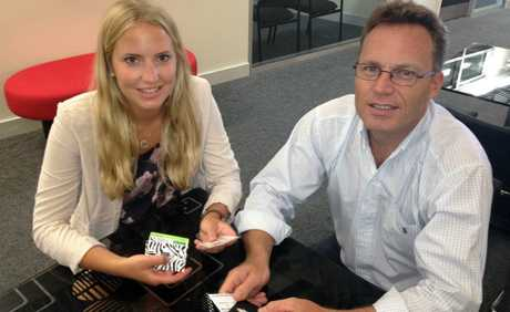 Swedish entrepreneur and University of the Sunshine Coast (USC) student Josefine Runius with Innovation Centre CEO Mark Paddenburg.
