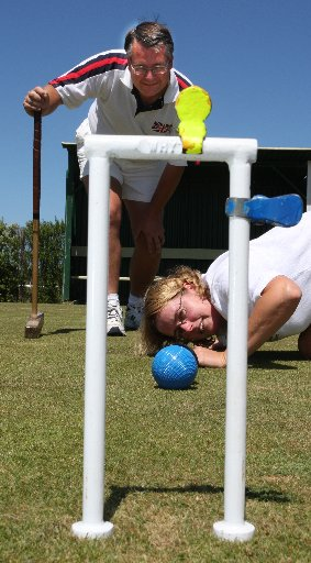 HOOPING IT UP: Husband and wife croquet rivals Chris and Jenny Clarke.