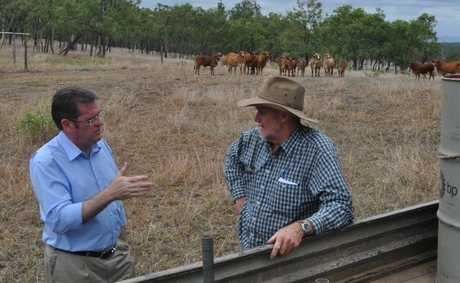 Minister For Agriculture John McVeigh talks to Colin Dunne of Raby Creek, Duaringa, in January about bovine johnes disease.