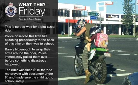 An image of a child on the back of a motorbike, published on the Queensland. Police facebook page