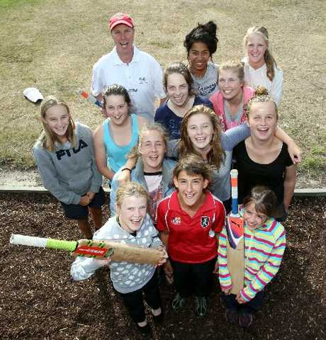 BRING IT ON: The Southern Shakers with coach Brent Davidson at the Riverbend Cricket Camp.