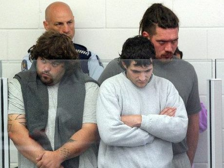Five accused in court.From left Hayden Ranson, Kristofer Jones, Matthew McKinney, obscured Toni Miller and name suppressed cut out of photo.