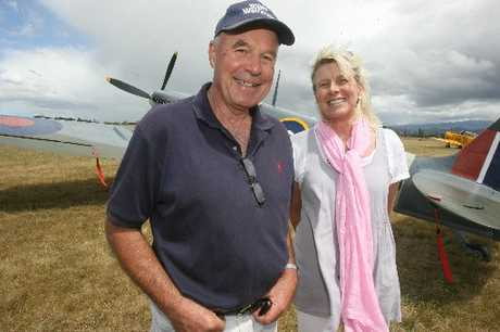 ON TRACK: Wings over Wairarapa airshow director Tom Williams and event organiser Liz Pollock at Hood Aerodrome yesterday.