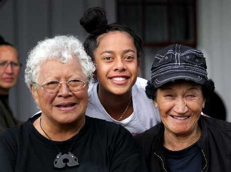 JOURNEY&#39;S END: Lady Martha Taiaroa (left), Rangituehu Twomey-Waitai, 13, and Mona Warera enjoyed Tira Hoe Waka 2013.