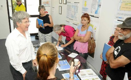 DEBATE: Metgasco CEO Peter Henderson talks with CSG activists at Metgasco's shopfront.