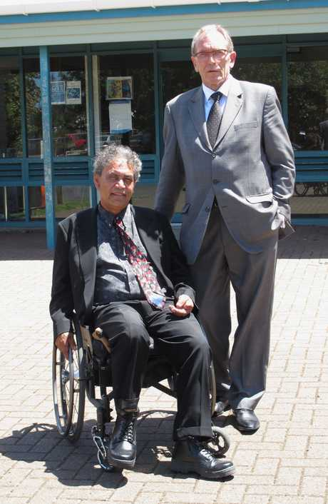 Invalid beneficiary Sam Kuha, whose hunger strike drew national attention, with lawyer Steve Nicholson at Kaikohe District Court yesterday.