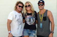 Mark 'Occy' Occhilupo, Stephanie Gilmore and Joel Parkinson hanging out backstage