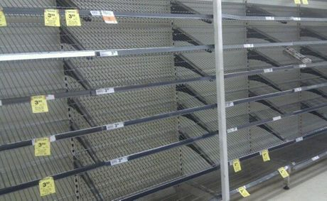 This photo of the Woolworths' bread aisle looking empty was taken earlier this month.