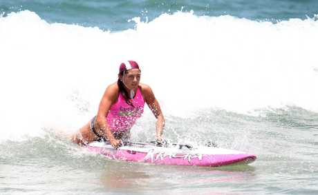 Oceans 38 surf carnival at Dicky Beach: Mooloolaba's Amy Nurthen wins her open girls board semi-final.