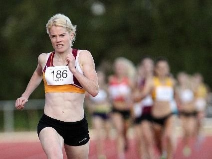 CONVINCING WIN: Rangiora&#39;s Angie Smit wins her fourth consecutive 800 metres title by 30 metres in Hastings on Saturday night.