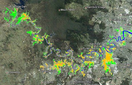 IF ONLY: The Maurice Blackburn flood map based on a January 2011 flood map. The green areas are where there would have been no flooding had Wivenhoe Dam been operated competently, lawyers claim. Orange is where there would have been six inches of flooding.