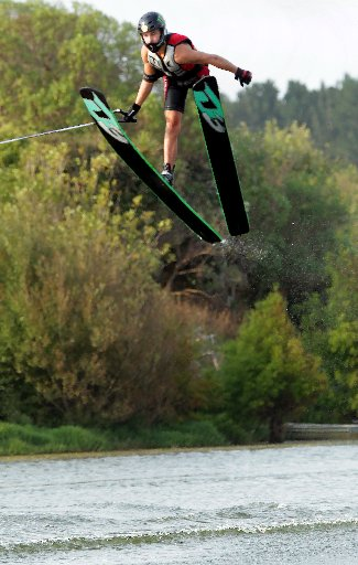 GET SOME AIR: Hamilton's James Wortman, 17, makes the biggest jump of the weekend at Lake Wiritoa.PHOTOS/STUART MUNRO