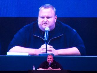 Kim Dotcom at the launch of of mega.co.nz. Photograph by Richard Robinson.