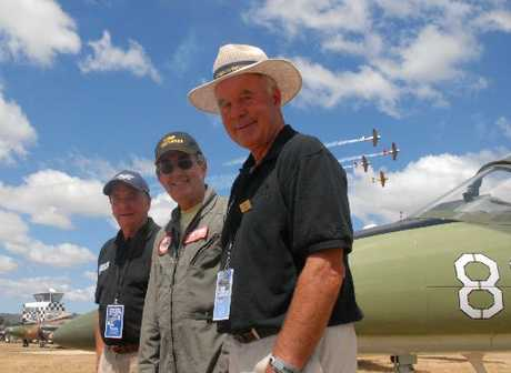 HIGH FLYERS: Bob Francis, Wings Over Wairarapa community trust chairman, jet pilot team leader John Lanham and airshow director and co-founder, Tom Williams. PHOTO/NATHAN CROMBIE
