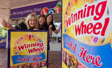 BACK-TO-BACK: The Lucky Lotto Shop has sold the successful Winning Wheel ticket two weekends in a row. Pictured are (from left) store owner Leigh Morris, Lyn Hughes and Manaia Wehipeihana.