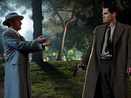 STANDOFF: Sean Penn (left) as Cohen confronts Josh Brolin&#39;s crusading cop O&#39;Mara.