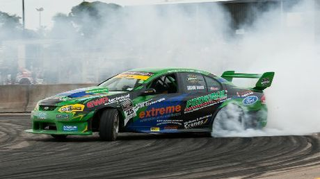 FULL ON: Former V8 Supercars driver Shane van Gisbergen in action at the Cody's D1NZ National Drifting Championship held at Baypark over the weekend.