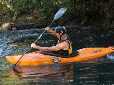 IN THE LEAD: Tim Pickering guides his kayak down the Kaituna River.