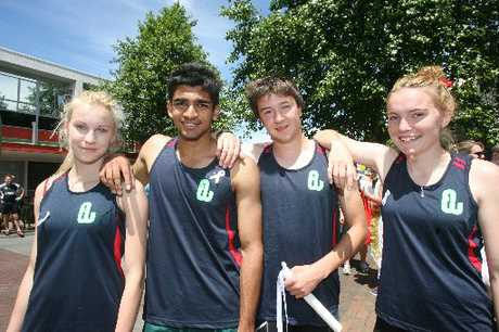 CAPITAL COLOURS: Among the 13 Wairarapa athletes donning the Wellington colours at the North Island age group championships are, from left, Tyler Griffiths, Dhruv Raman, Alex Howden and Sian Chapman.