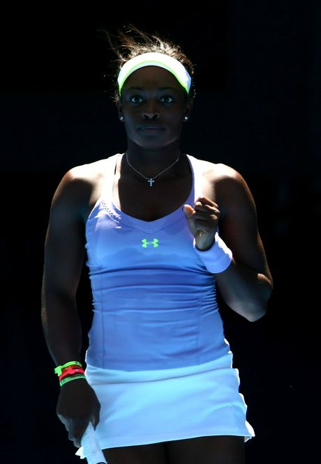Sloane Stephens of the US celebrates winning a point in her Quarterfinal match against Serena Williams of the US during day ten of the 2013 Australian Open at Melbourne Park on January 23, 2013 in Melbourne, Australia.