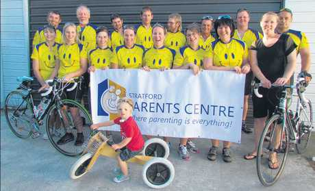 The Stratford Parents Centre BLM feeds Cycle for a Smile riders with Kobe Uhlenberg and his mum, Cath (front right).