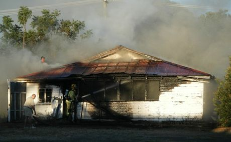 FIRE fighters fought to contain a blaze at an Injune property this morning. Unfortunately the building was badly damaged in the blaze and will have to be destroyed.