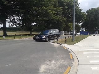 The hearse carrying the body of 19-year-old Caitlin Dickson leaves Bethlehem College.