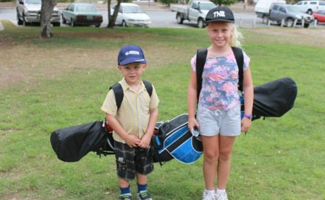 TIP: Mitchell and Emma Russell getting ready for the upcoming junior clinics.