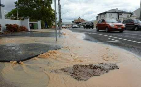 A burst water main on Limestone Street, Ipswich on Thursday.