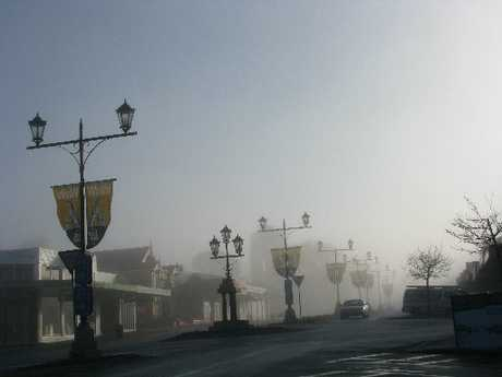 Waihi's main street early in the morning.