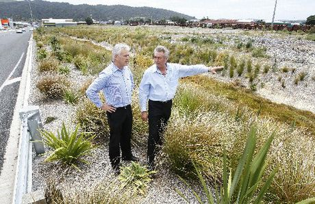 YOU&#39;RE THERE: Mark Cromie, right, points to where his Northland Toyota business partner Bryce Woodward will have his office in the new premises.