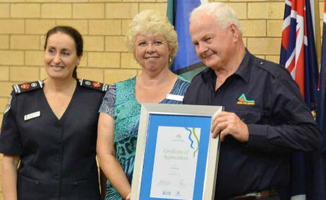 Commissioner Marlene Morison (Queensland Corrective Services) and MP Anne Maddern recognise the contribution of Veteran's Neil Brock.