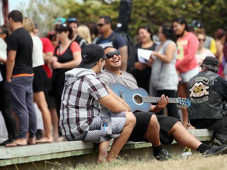 STAR QUALITY: David Kennedy (left) and Brook Komene of Hastings were among nearly 200 Hawke's Bay hopefuls trying to impress judges at X Factor New Zealand auditions at East Pier in Napier yesterday.