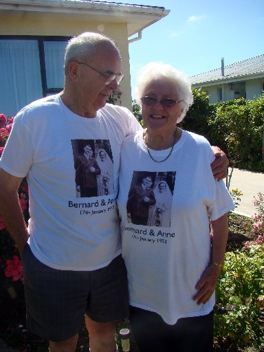 TOGETHER: Bernard and Anne Wilkinson celebrated their 60th wedding anniversary last week. Their youngest daughter ordered printed T-shirts, which have a picture of their wedding day on them. PHOTO/JESSIE WAITE