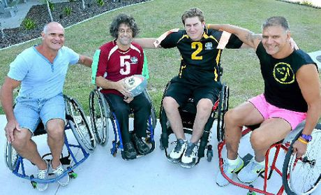 Former Queensland star Dale Shearer, Wheelchair Rugby League Queensland division founder Darren Belling, Ben Smith and former Maori All Black JJ Atuahiva.