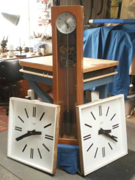 REMOVED: The master clock and two slaves, removed from Kaitaia's town clock on Tuesday and now undergoing repairs.
