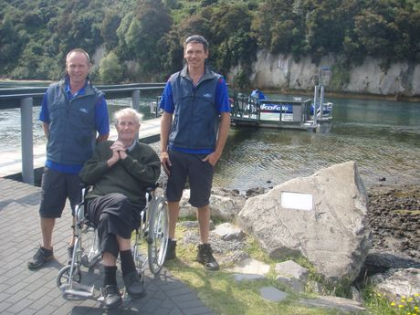 BACK ON DRY LAND: Tony Swainson (centre) says he's grateful to Hukafalls Jet staff Phil Ball (left) and Steve Riddle (right) along with Mike Tindle, who plucked him from the Waikato River after he lost his balance and fell into deep water.
