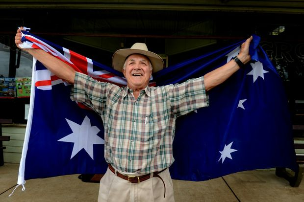 Dennis Scanlon is all dressed up for Australia Day in Tyalgum.