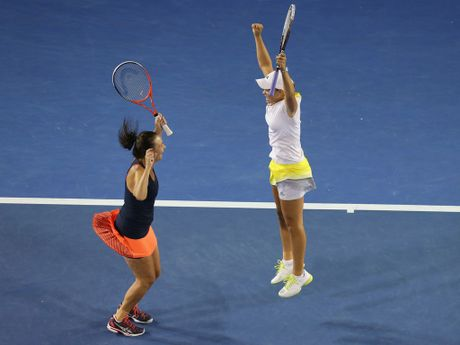 Casey Dellacqua and Ashleigh Barty of Australia celebrate after winning their doubles semifinal match against Varvara Lepchenko of the United States and Saisai Zheng of China at the 2013 Australian Open