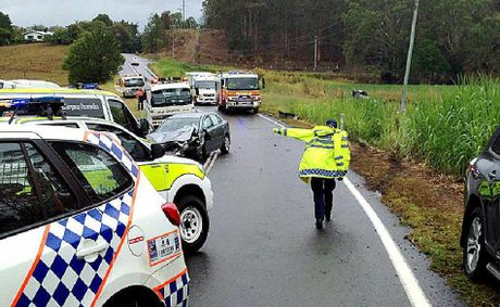 Police and emergency services attend a crash on Nambour-Bli Bli Road.