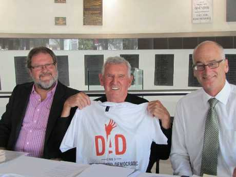 Napier businessman and city councillor Bill Dalton, Ian Dick retired former Napier city councillor, and Peter Twigg, Napier lawyer, at the launch of HB Dedicated and Democratic (DAD HB), about to go to the front to fight for a vote on local government reorganisation proposals.