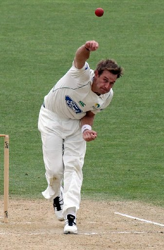 ZIMBABWE EXPRESS: Central Districts opening bowler Kyle Jarvis chugs in for a clinical spell yesterday at McLean Park, Napier.