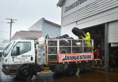 Bridgestone moving out as flood levels are rising. Photo Renee Pilcher / The Gympie Times