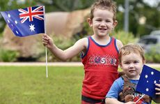TRUE-BLUE: Cousins Lincon Kent, 4, from Hatton Vale, and Jett Hefford, 1, from Jimboomba, at the Laidley Cultural Centre on Australia Day.